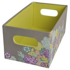 """Xhil Media Floral Bin with Cut-out Handles, 11""""x6""""  Multicolor - Target"""