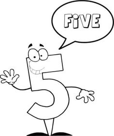 Number 5 Says FIVE Coloring page