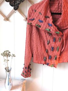 WAFFLE WEAVE RED  OR BOTTOM OF SILK CORAL BLOUSE Autumn Orange Rustic Knit Jacket with hand dyed fabric accents