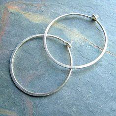 Silver Hoop Earrings Sterling Silver Medium Hoops, organic silver hoops minimalist jewelry womens gi