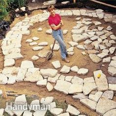 Instructions for laying your own patio. SO much work, yikes!