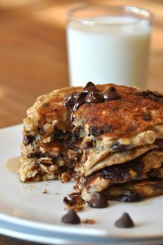 Chocolate Chip Oatmeal Pancakes, omg i just want that taste in my mouth with that big ass glass of milk.
