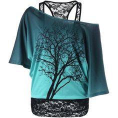 Lace Panel Skew Collar Tree Print T Shirt ($20) ❤ liked on Polyvore featuring tops, t-shirts, print t shirts, print tees, blue t shirt, blue collar t shirts and blue print top