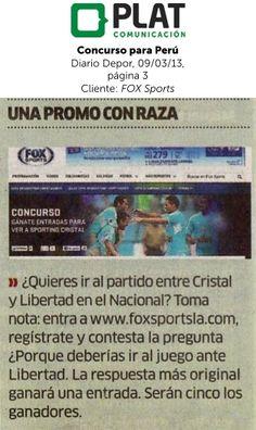 FOX Sports: Sorteo de entradas en el diario Depor de Perú (09/03/13)
