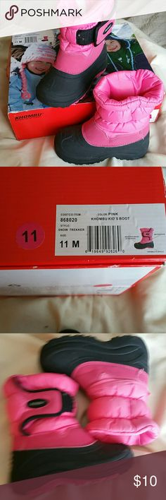 Khombu Kid's Snow Pink Boots Khombu Kid's pink & black snowboots in box.  Worn a few times this season.  Rated to -20 degrees.  EUC. Khombu  Shoes Rain & Snow Boots