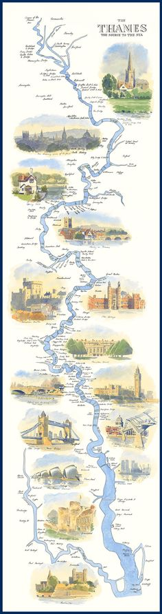 There is more to the River Thames than just London! - River Thames Path Map By William Thomas Thames Path, River Thames Map, England And Scotland, Old Maps, English Countryside, London England, England Uk, British Isles, Travel Posters