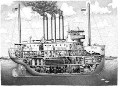 Boat Drawing, Ship Drawing, William Kurelek, Trawler Boats, Shanty Boat, The Wheelhouse, Fishing Vessel, Below Deck, Yacht Interior