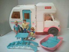 Fisher Price Loving Family Doll House RV Camper Motorhome Boat People Lot Rare #FisherPrice