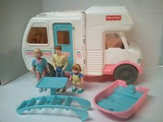 Fisher Price Loving Family Doll House RV Camper Motorhome Boat People Lot Rare #FisherPrice