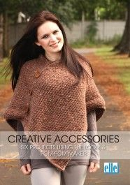 elle, Creative Accessories, Six Projects using the loom and pom-pom maker. Date published unknown. Loom Knitting, Knitting Patterns, Pom Pom Maker, Tunic Tops, Pullover, Creative, Projects, Sweaters, Yarns