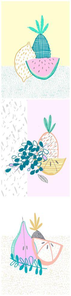pastel pineapples - Amyisla McCombie (print, graphic design, colour, pattern)