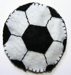 Football beanbag - White felt, black felt, black thread - fill with rice, lentils or dried beans!