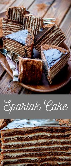 Chocolate honey cake - has thin chocolate cake layers sandwiched with creamy sour cream filling. This Russian Spartak cake is our favorite chocolate cake! #cake #dessert Homemade Cake Recipes, Delicious Cake Recipes, Homemade Cookies, Best Dessert Recipes, Yummy Cakes, Easy Desserts, Snack Recipes, Tart Recipes, Holiday Baking