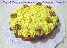 Les receptes del Miquel: Tarta de plátano y nueces con frosting de mascarpone a la vainilla