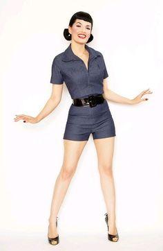 Bernie Dexter 1950's Style Garage Girl Romper - Indigo Stretch Denim - zipper down front, pleats above bust, cuffed shorts