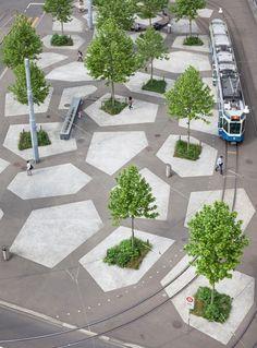 Foto: Tessiner Platz, Zürich © Markus Frietsch, Grafik : Julie Schneider – «Eine Ausstellung der Schweizer Kulturstiftung Pro Helvetia, ko...