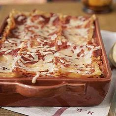 Lasagne ~ Makes 8 portions ~ Per Portion:  Calories 284 | Fat 8.8g | Protein 15.7g | Carbs 34.2g | Fibre 3.3g ~ Note:  Adding tuna or chicken to this will increase the protein count ~ Conversions:  8oz = 226g / 26oz = approx 700g