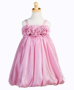 Flower Bubble Dress for Girls in Pink