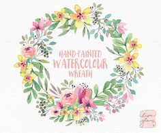 Watercolor wreath: PNG floral clip art / by LisaGlanzGraphics