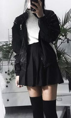Black bomber jacket with white knitted top, black tennis skirt & high knee socks by cooltured - #grunge #alternative #fashion