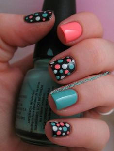 Fancy Nails, Trendy Nails, Diy Nails, Cute Nails, Polka Dot Nails, Polka Dots, Nagel Gel, Creative Nails, Simple Nails