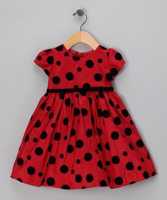 There's dress-up and then there's dress-up, and this sophisticated dress is definitely in the latter category. With a lovely flocked skirt, coordinating sash and zippered back, this piece is pure heaven. Little Girl Dresses, Girls Dresses, Ladybug 1st Birthdays, Ladybug Party, Sophisticated Dress, Taffeta Dress, Baby Birthday, Birthday Ideas, Birthday Pictures