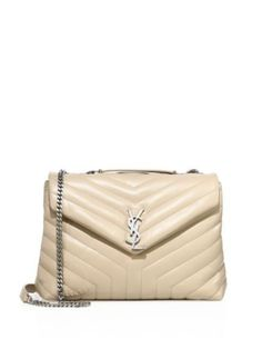 24aa2f6a7e8 NEW Saint Laurent Medium Lou Lou Chevron Quilted Leather Crossbody Bag -  Nude