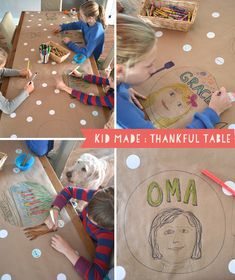 Thanksgiving table setting by kids