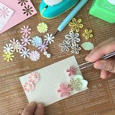 100円Shopで購入したカードをパンチのお花で華やかに出来るペーパークラフト LIMIA (リミア)