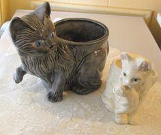 Vintage 1980s  Set of  2 Ceramic Cat Planters 1 by RitasGarden, $19.95