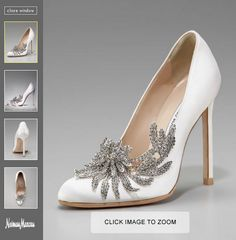 Bella's wedding shoes in Twilight..You can purchase Bella's Manolo Blahnik shoes, called the Swan Embellished Satin Pump, for $1,295. Omg..