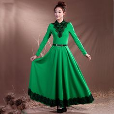 2013 New Long Dress Maxi Size XXXL Maxi Dress Winter Long Sleeve Dress With Lace Neck Free Shipping +Gift(Leopard Scarf)-in Dresses from App...