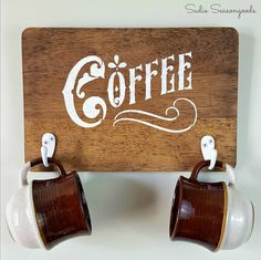 DIY Farmhouse Style rustic coffee sign with a repurposed upcycled thrift store wood cutting board by Sadie Seasongoods / www.sadieseasongoods.com
