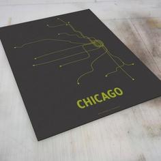 Chicago Lineposter Screen Print - Steel Gray/Fern Green. $28.00, via Etsy.