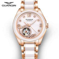 164.90$  Watch here - http://aliko3.worldwells.pw/go.php?t=32720500805 - Top Brand GUANQIN 2016 New Watch Women Fashion Hollow Mechanical Watches With Ceramic Band And Rhinestone Case relogio feminino