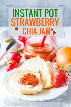 This Strawberry Chia Jam is sweet, delicious, and perfectly healthy as it contains no refined sugar! Made in an Instant Pot or another electric pressure cooker, it takes very little hands-on time and is super convenient to make   imagelicious.com #chia #chiajam #instantpot #instantpotjam #freezerjam