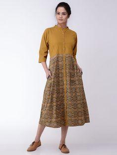 Mustard-Indigo Ajrakh-printed Cotton Dress Salwar Designs, One Piece Dress, Cotton Dresses, Printed Cotton, Mustard, Lace Skirt, Indigo, High Waisted Skirt, Couture