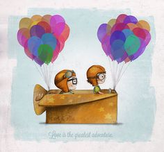 Great wedding gift for the Disney lover UP Pixar — Love is the greatest adventure Art Print by Ciara Panacchia Up Pixar, Pixar Movies, Disney Movies, Disney Characters, Fictional Characters, Disney Up, Disney Amor, Disney Magic, Carl Y Ellie