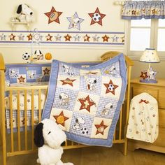 Bedtime Originals Champ Snoopy™ 4 Piece Bedding SetBedtime Originals welcomes our new Champ home in style. The furry appliquéd Snoopy and Woodstock are a winning combination. The 4 piece bedding set includes a quilt, bumper, sheet and dust ruffle.Champ Snoopy collection is available in the following components:•4 Piece Set: Quilt, Bumper, Sheet, Dust Ruffle•Mobile musical features a plush...