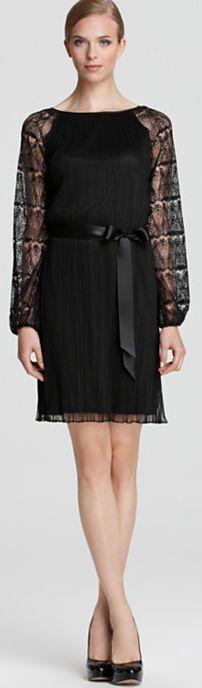 Aidan Mattox Long Sleeve Dress - Pleated Lace Sleeve #lace #black #dress #cocktail #dresses