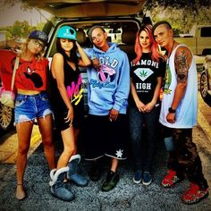 Ashley Benson, Selena Gomez, Thurman Sewell, Rachel Korine and Sidney Sewell on the set of Spring Breakers