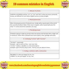 10 common mistakes in English part 1