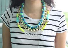 NeonSpine, neon necklace, bib necklace, tribal rope chunky chains and beads, mermaid style,  statement necklace OOAK