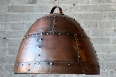 SALE Small Industrial Antique Copper Finish Hanging Riveted Reclaimed Iron Light Fixture Pendant Light