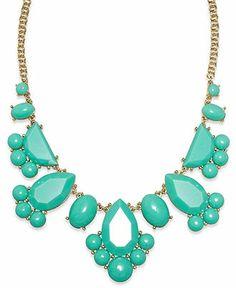 kate spade new york Gold-Tone Turquoise Epoxy Stone Frontal Necklace - Fashion Jewelry - Jewelry & Watches - Macy's