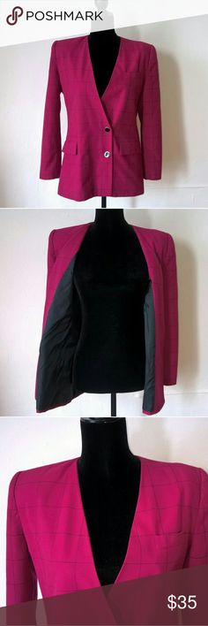 "Awesome Atrium Collection  Fuchsia Pink Blazer Vintage AC Fuchsia Pink Double Breasted Blazer. Very stylish and unique. Pre owned slight wear but in great condition. Size 7/8 Length: 28"" Waist: 20"" Armpit to Armpit: 21"" Sleeves: 20"" Atrium Collection Jackets & Coats Blazers"
