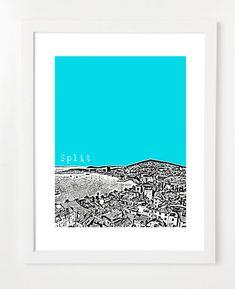 Split, Croatia Poster - City Skyline Series Art Print - 8x10. $20,00, via Etsy.  Kunst für die Wände