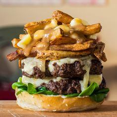 Overindulge on Fat Tuesday with this Double Cheese Poutine Burger recipe.