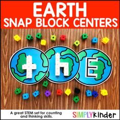 Earth Alphabet Snap Block Center by Simply Kinder | TpT Creative Curriculum Preschool, Kindergarten Activities, Alphabet Activities, Stem Activities, Earth Day Video, Teaching Calendar, Recycling For Kids, Block Center, Lower Case Letters