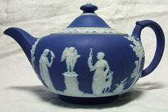 Wedgwood Dark Cobalt Blue Jasperware Tea Pot ~ stunningly beautiful